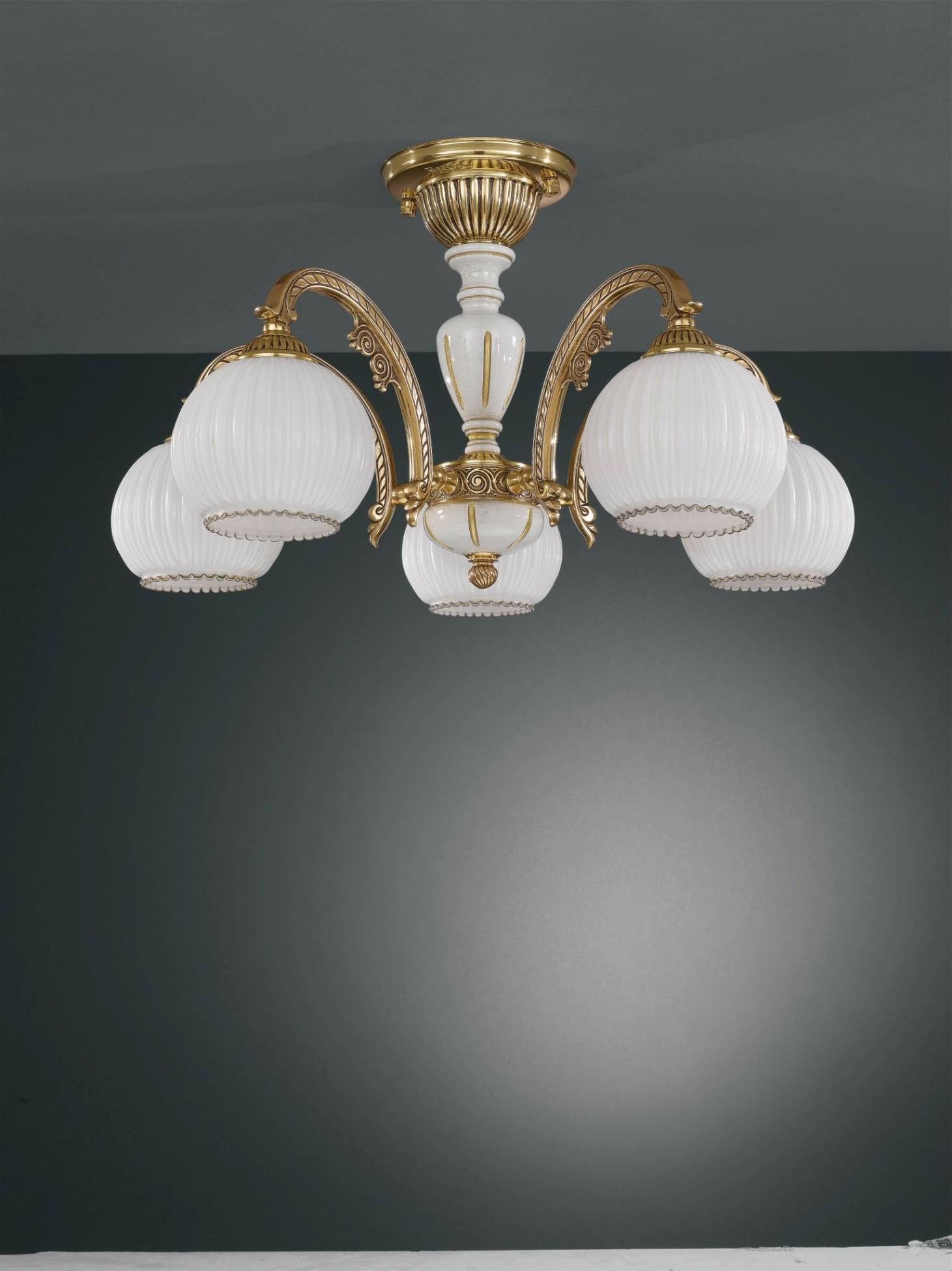 Lampadario in legno, ottone dorato e vetro soffiato 5 luci  Reccagni ...