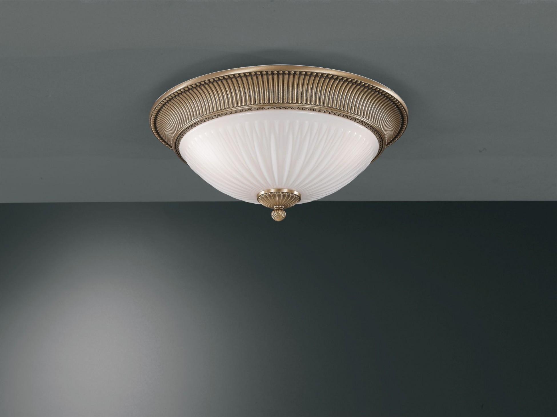 Plafoniere Ottone E Vetro : Plafoniera in ottone e vetro bianco soffiato rigato 2 luci 41 cm