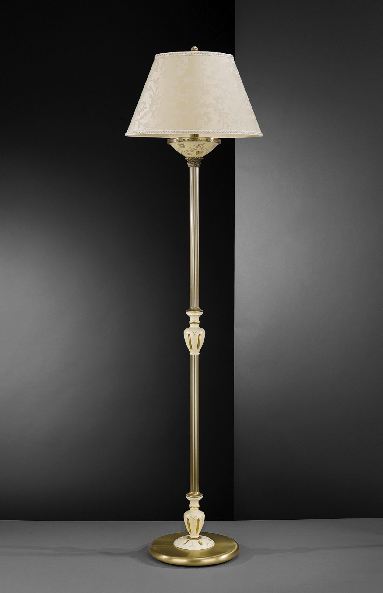 Brass Floor Lamp With Cream Engraved Glass And Lamp Shade