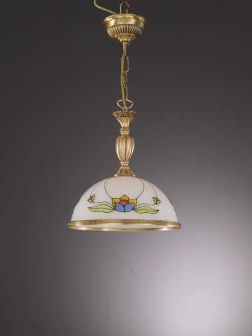brass pendant light with decorated