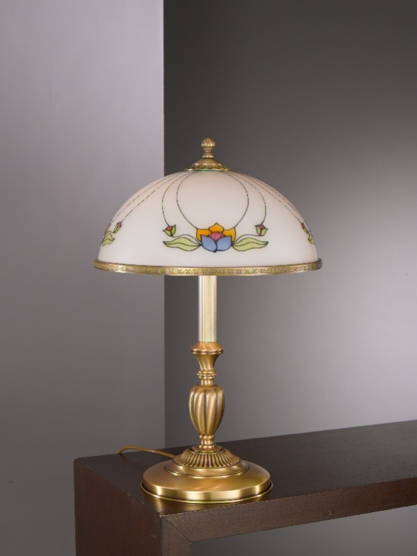 Large Brass Table Lamp With Decorated Liberty Glass Sale