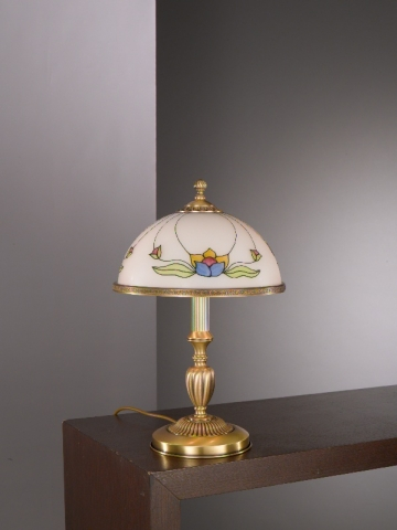 Medium brass table lamp with decorated