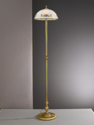 Brass floor lamp with decorated