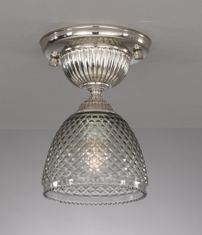 Iron and brass ceiling lamp with blown smoked glas