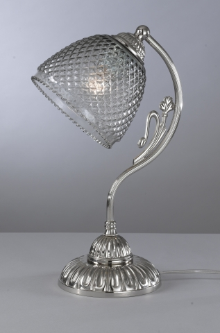 Iron and brass table lamp with blown smoked glass