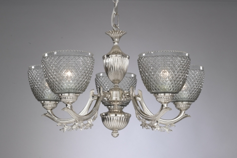 Iron and brass chandelier with blown smoked glass