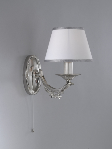 Wall light Nikel finished with white textile shade