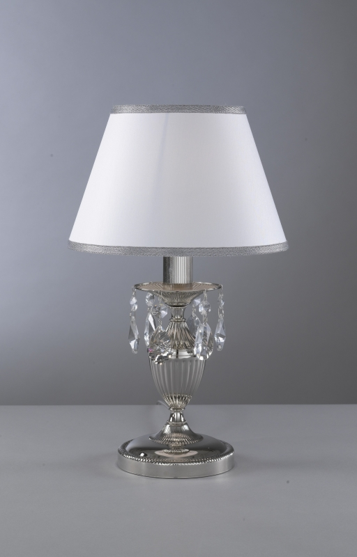 Bedside lamp Nikel finished with white textile shade