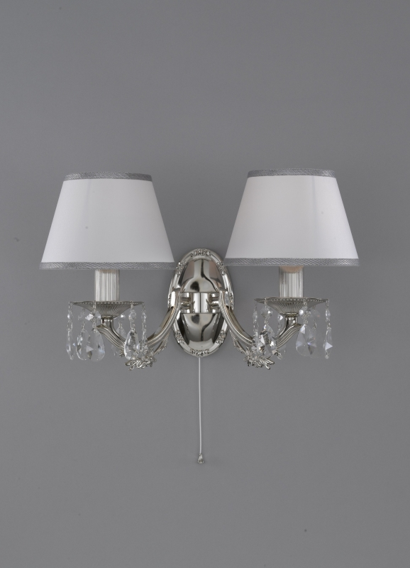 Classic wall lamp Nikel finished with white textile shade
