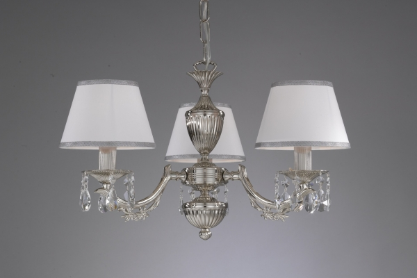 Chandelier Nikel finished with white textile shade