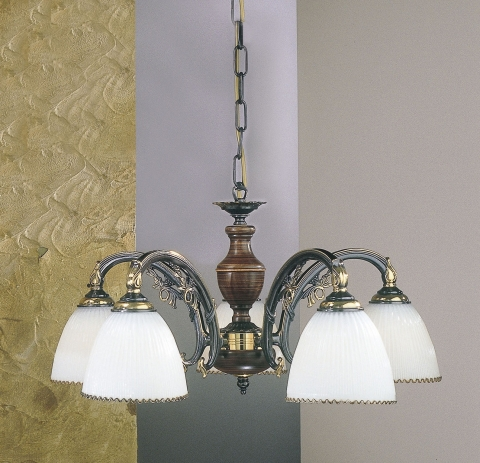5 lights brass and wood chandelier with white blown glass