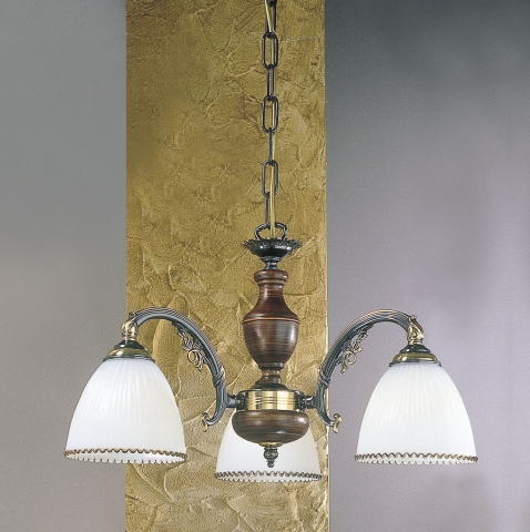 3 lights brass and wood chandelier with white blown glass