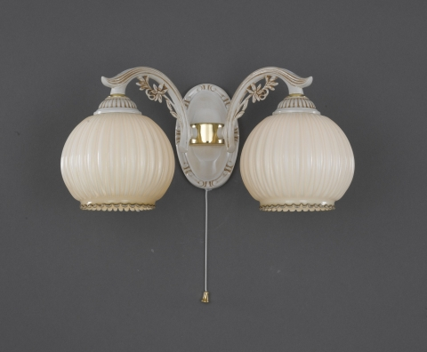 2 Lights wall light with blown ivory glass