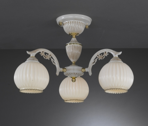 3 Lights chandelier with blown ivory glass
