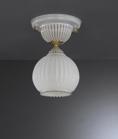 1 Light ceiling lamp with blown ivory glass