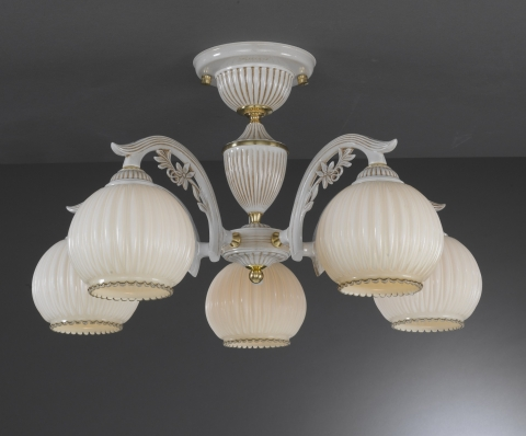 5 Light chandelier with blown ivory glass