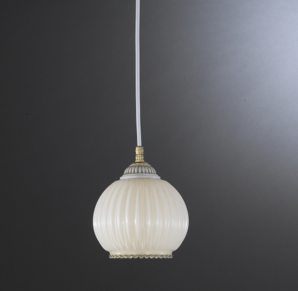 Pendant light with blown ivory glass