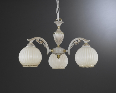 3 Light chandelier with blown ivory glass