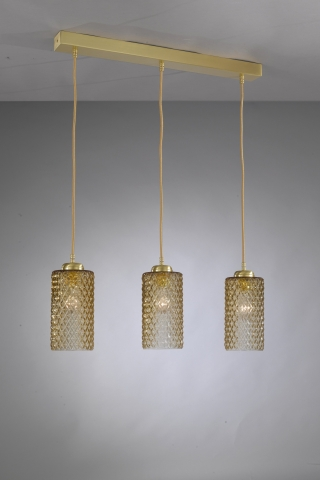 Suspension lamp in brass with three lights , satin gold finish, blown glass bronze color. B.10030/3