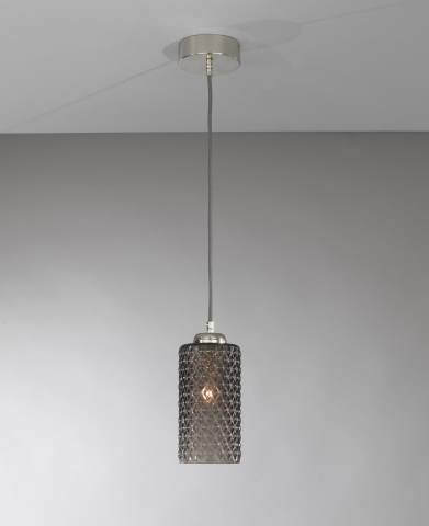 Suspension lamp with one light, Nickel finish, blown glass in Smoked color L.10000/1