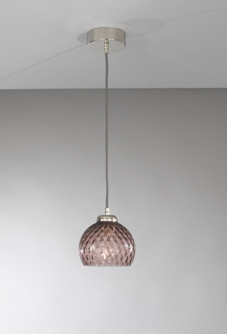 Suspension lamp with one light, Nickel finish, blown glass in Amethyst color  L.10006/1