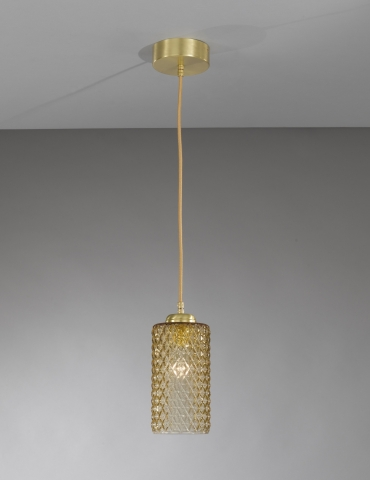 Suspension lamp in brass with one light , satin gold finish, blown glass bronze color. L.10030/1