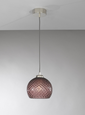 Suspension lamp with one light, Nickel finish, blown glass in Amethyst color  L.10005/1