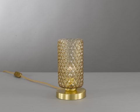 Bedside lamp in brass , satin gold finish, blown glass bronze color. P.10030/1