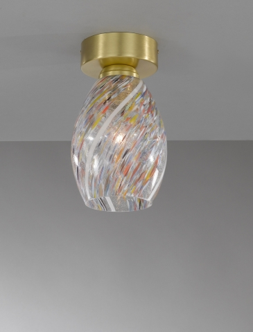 Ceiling lamp in brass , satin gold finish, blown glass multicolored Murrina  PL.10034/1