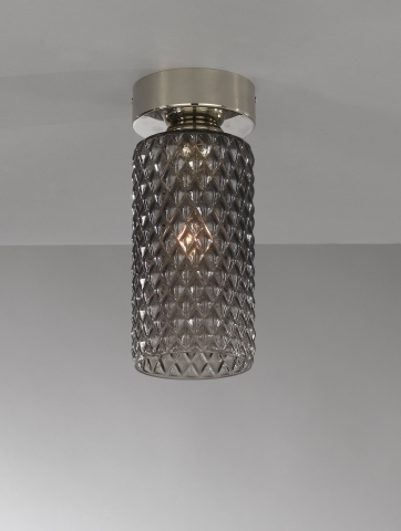 Ceiling lamp, Nickel finish, blown glass in Smoked color PL.10000/1