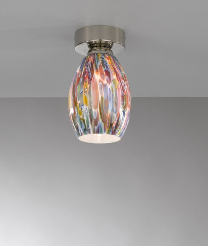 Ceiling lamp, Nickel finish, blown glass multicolored Murrina PL.10009/1