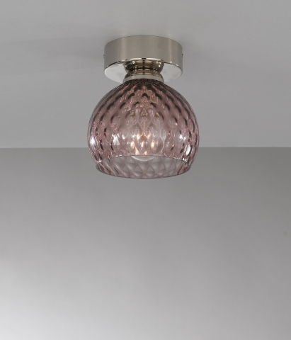 Ceiling lamp, Nickel finish, blown glass in Amethyst color  PL.10006/1