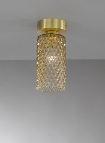 Ceiling lamp in brass , satin gold finish, blown glass bronze color. PL.10030/1