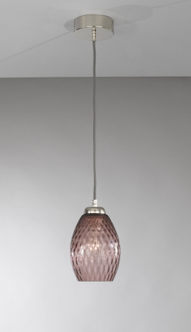 Suspension lamp with one light, Nickel finish, blown glass in Amethyst color  L.10008/1