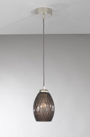 Suspension lamp with one light, Nickel finish, blown glass in Smoked color  L.10007/1