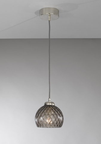 Suspension lamp with one light, Nickel finish, blown glass in Smoked color  L.10003/1