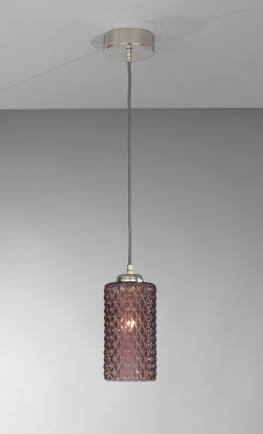 Suspension lamp with one light, Nickel finish, blown glass in Amethyst color  L.10001/1