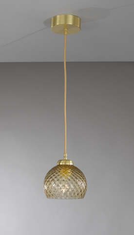 Suspension lamp in brass with one light , satin gold finish, blown glass bronze color. L.10032/1