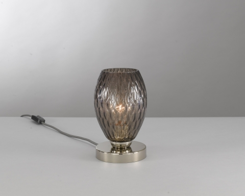 Bedside lamp, Nickel finish, blown glass in Smoked color  P.10007/1