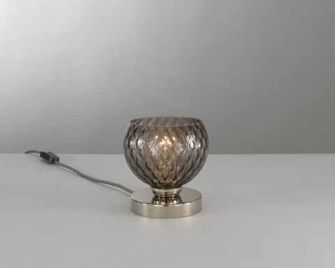 Bedside lamp, Nickel finish, blown glass in Smoked color  P.10003/1