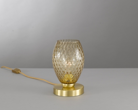 Bedside lamp in brass , satin gold finish, blown glass bronze color. P.10033/1