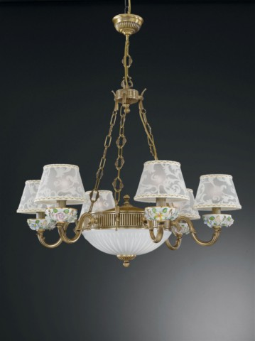 8 lights brass and painted porcelain chandelier with lamp shades