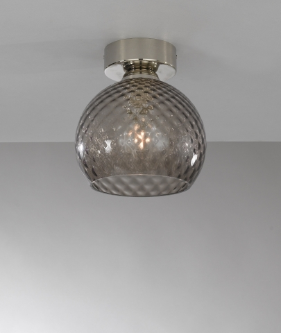 Ceiling lamp, Nickel finish, blown glass in Smoked color PL.10002/1