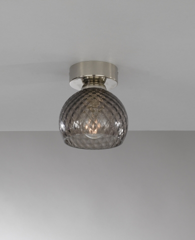 Ceiling lamp, Nickel finish, blown glass in Smoked color PL.10003/1