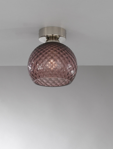 Ceiling lamp, Nickel finish, blown glass in Amethyst color  PL.10005/1