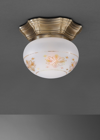 Classic brass ceiling lamp with glass sphere. PL.7735/1