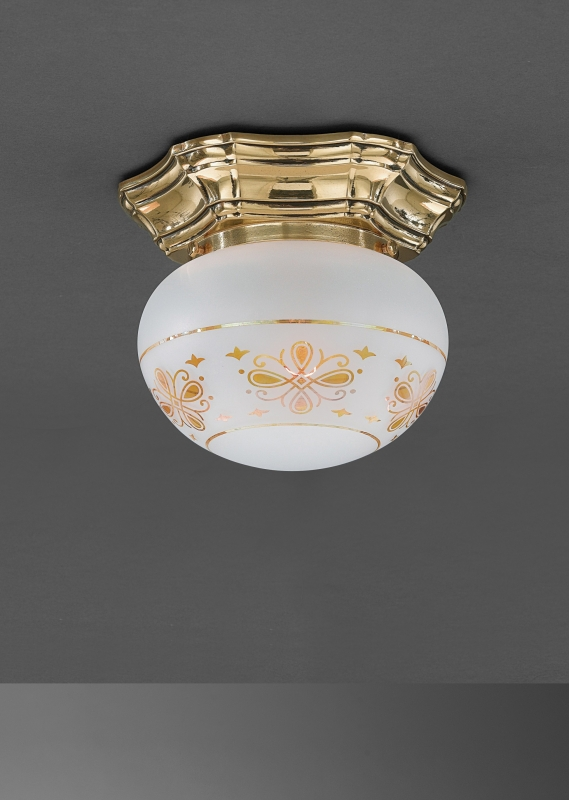 Classic brass ceiling lamp with glass sphere. PL.7835/1