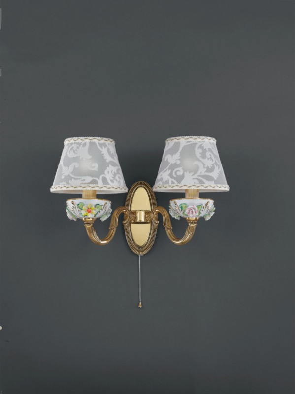 2 light golden brass and painted porcelain wall sconce with lamp shade
