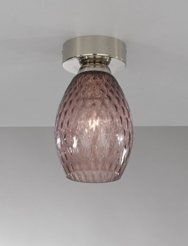 Ceiling lamp, Nickel finish, blown glass in Amethyst color  PL.10008/1