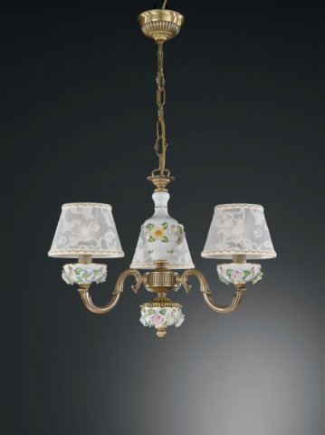 3 lights brass and painted porcelain chandelier with lamp shades